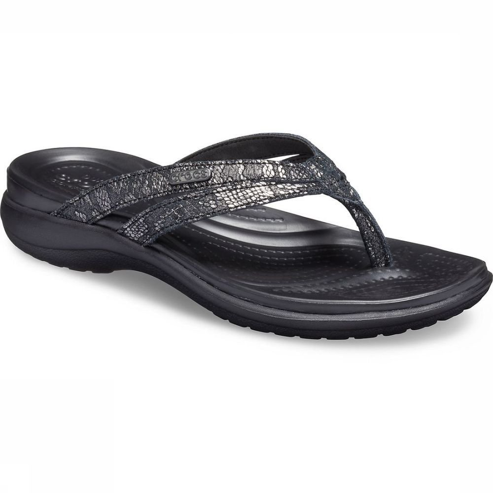 Crocs Slipper Capri Strappy Sandal voor dames Zwart Maten: 36-37, 37-38, 38-39