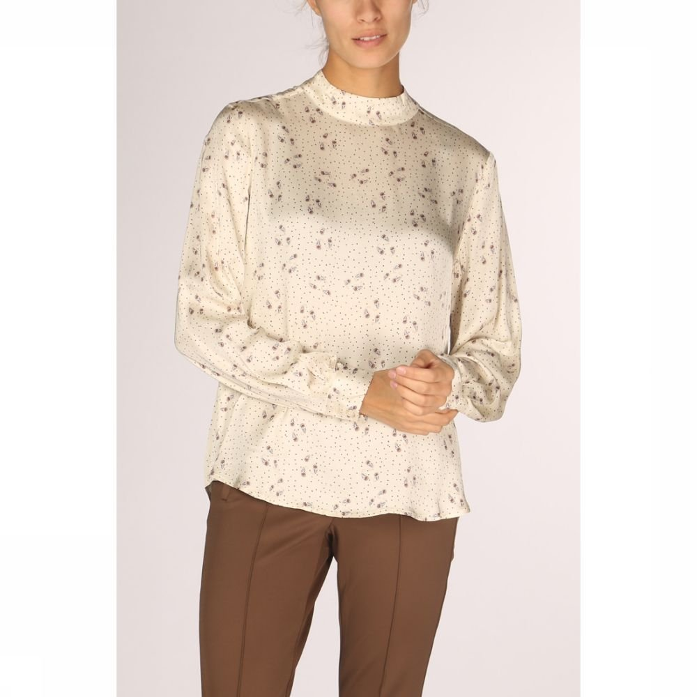 YAYA Blouse Turtle Neck Small Paisley Print voor dames Wit Maat: 42 Sale