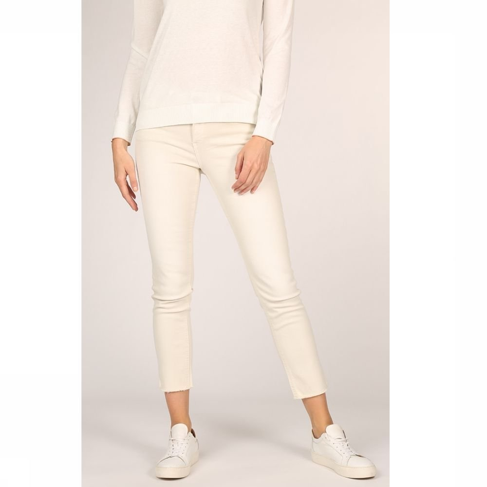 YAYA Jeans Colored Frayed Hems And Print On Waistband voor dames Wit Maten: 34, 36, 38, 40 Sale Nieu