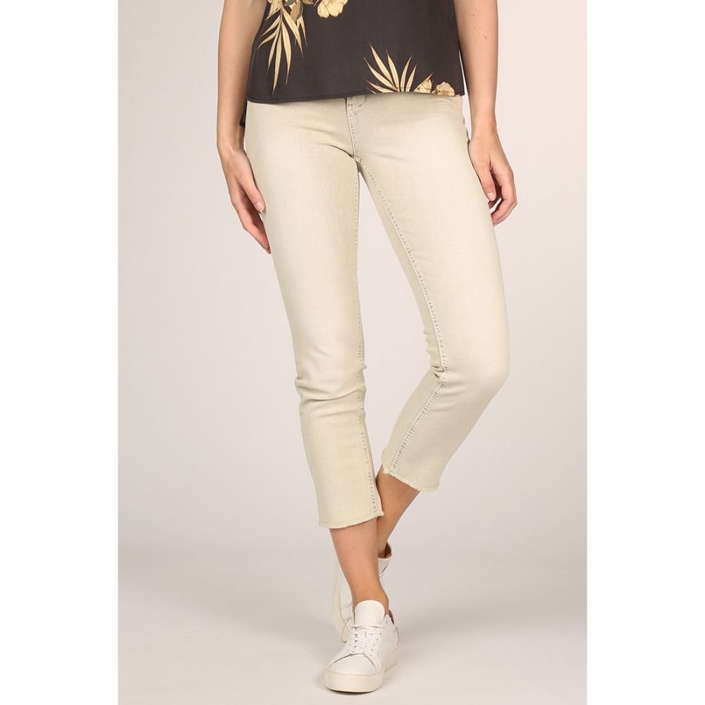 YAYA Jeans Colored Frayed Hems And Print On Waistband voor dames Groen Maten: 34, 36, 38, 40, 42 Nie