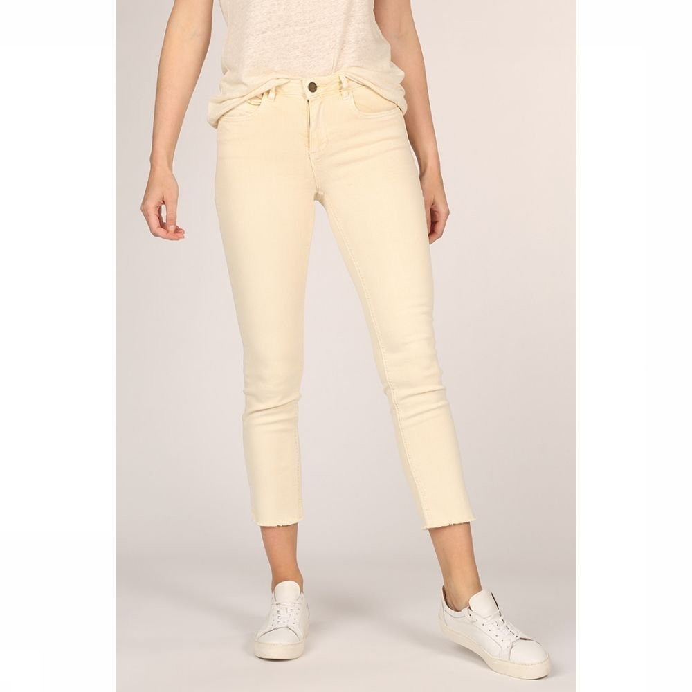 YAYA Jeans Colored Frayed Hems And Print On Waistband voor dames Geel Maten: 34, 36, 38, 40, 42 Nieu