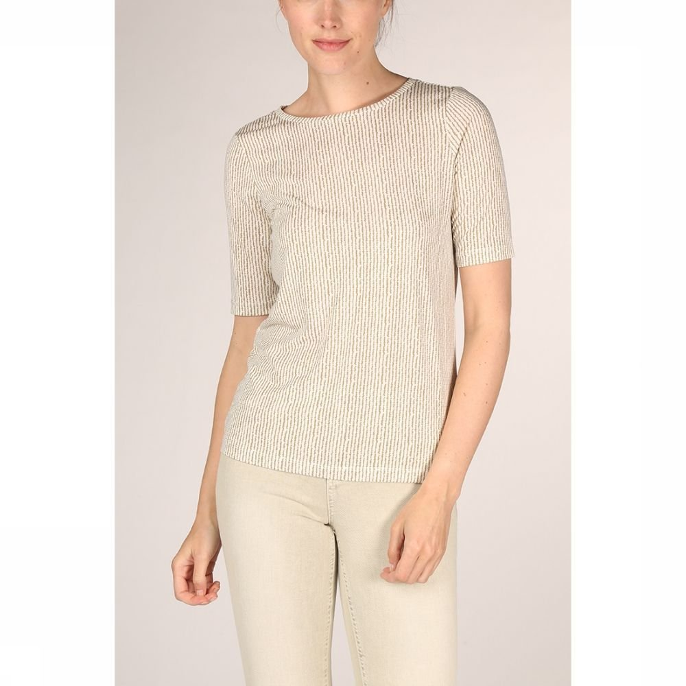 YAYA T-Shirt Rounded Hems And Striped Print voor dames Wit-LichtGroen Maten: XS, S, M, L, XL Nieuwe
