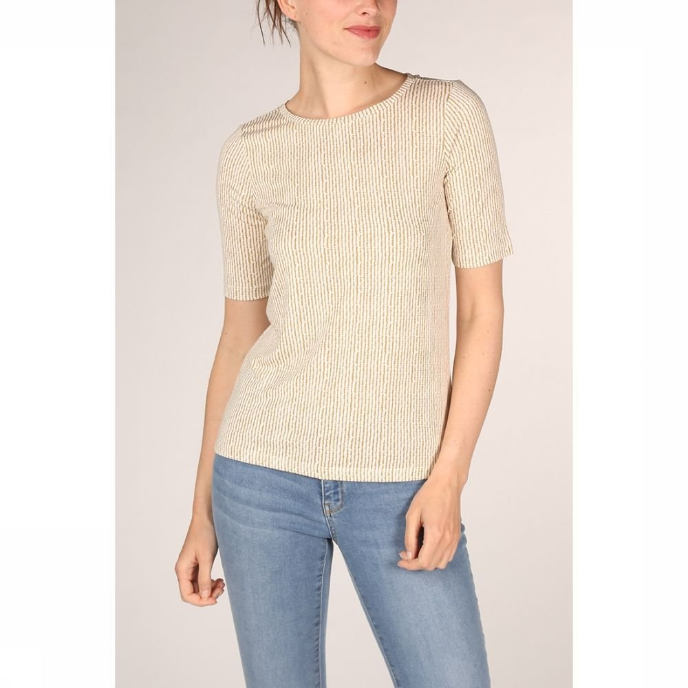YAYA T-Shirt Rounded Hems And Striped Print voor dames Wit-Geel Maten: XS, S, M, L, XL Nieuwe collec