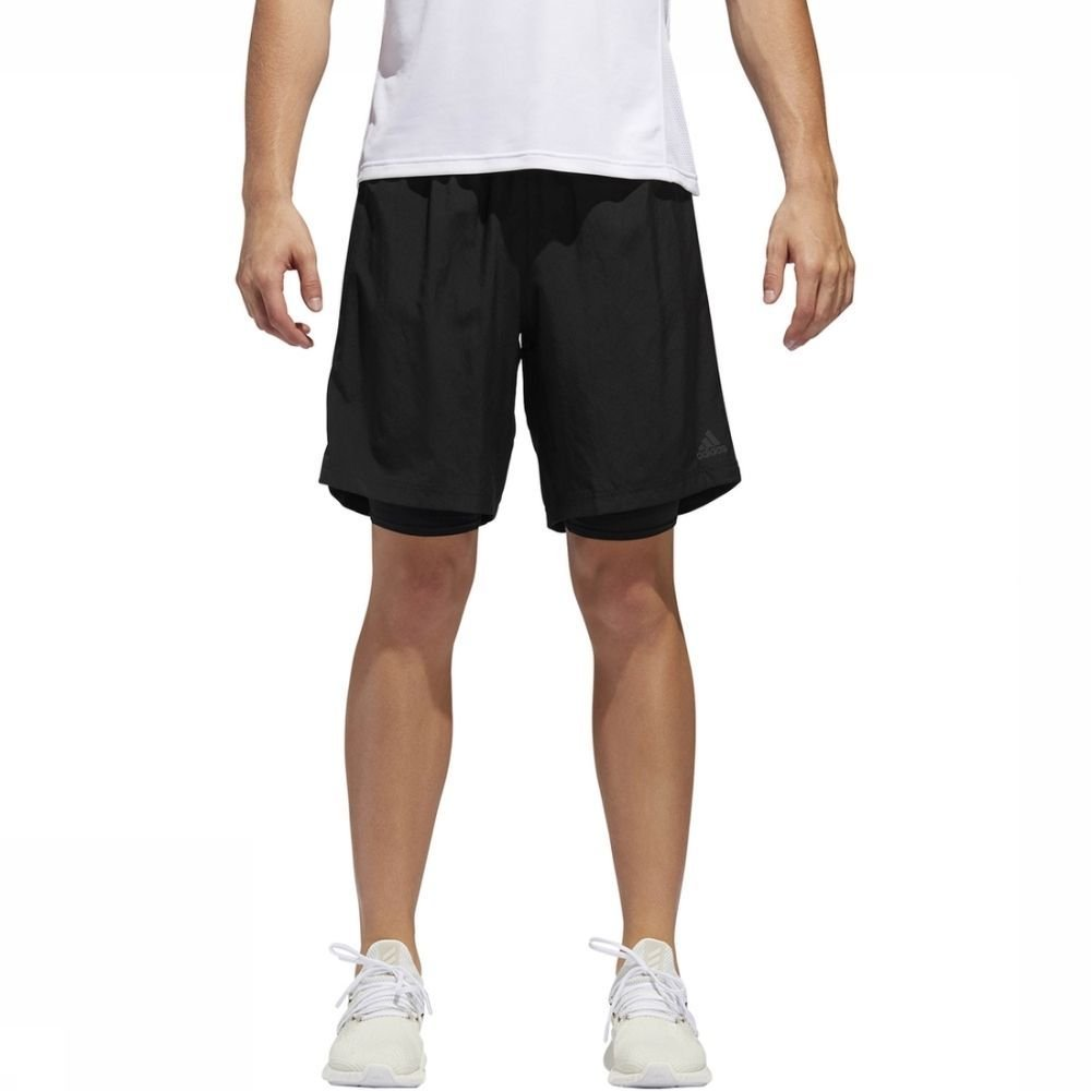 adidas Short Own The Run 2N1 voor heren - Zwart - Maten: S, XL - Sale